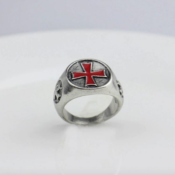 Antique Red Enamel Cross Knights Templar Ring