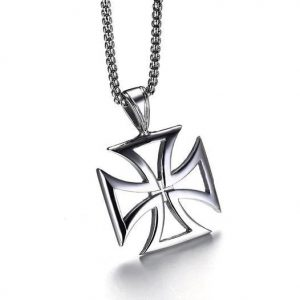 Hollow Knights Templar Iron Maltese Cross Pendant