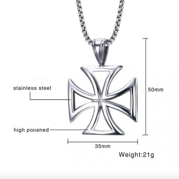 Hollow Knights Templar Iron Maltese Cross Pendant