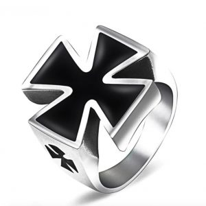 Knights Templar Black Cross Ring