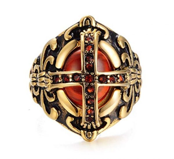 Red Stone Crusader Shield Ring