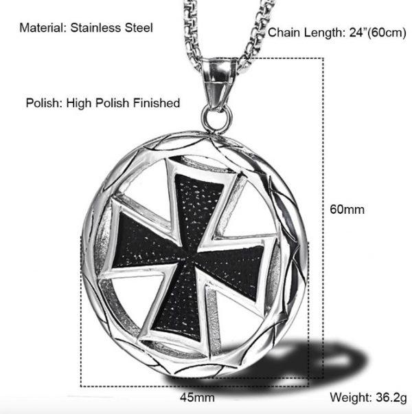 Vintage Round Knights Templar Black Cross Pendant
