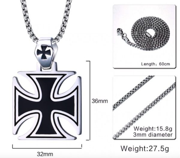 Knights Templar Black Iron Cross Pendant Necklace