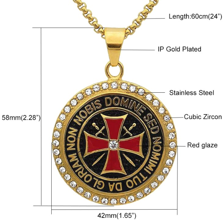 knights templar iron cross pendant necklace