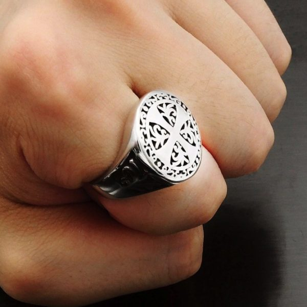 Knights Templar Luck Cross Crusader Men Ring