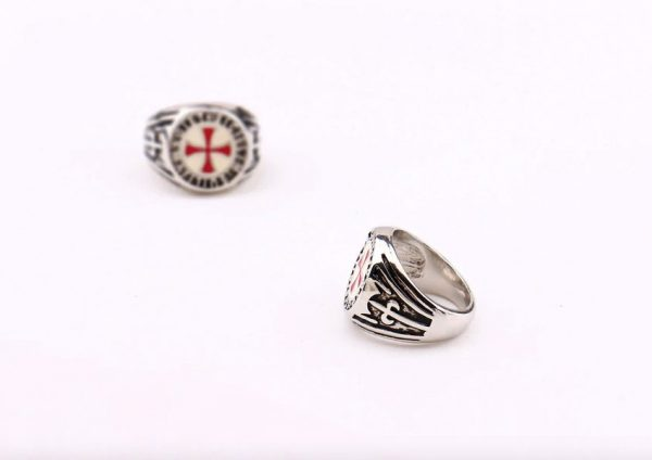 Red Enamel Cross Shield Knights Templar Ring